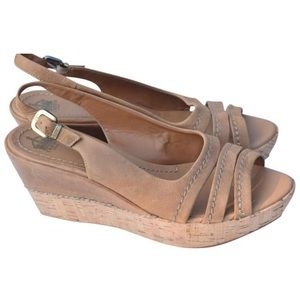 Crown Vintage Leather and Cork Wedge Sandals
